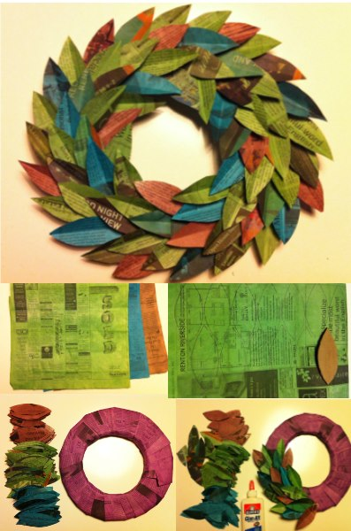 How to make beautiful wreath with newspapers step by step DIY tutorial instructions