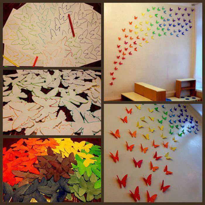 Decorating Paper Crafts For Home Decoration Interior Room: How To Make Butterfly Wall Decoration Step By Step DIY