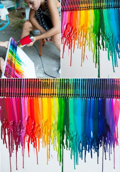 How to make colorful wall art docor with crayons step by step DIY tutorial instructions