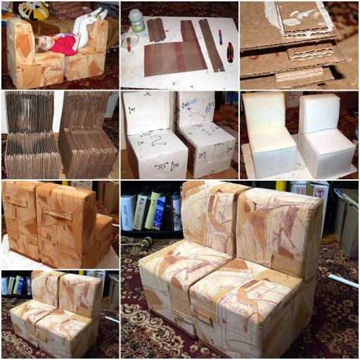 How to make cool Cardboard Children sofa Chair step by step DIY tutorial instructions thumb