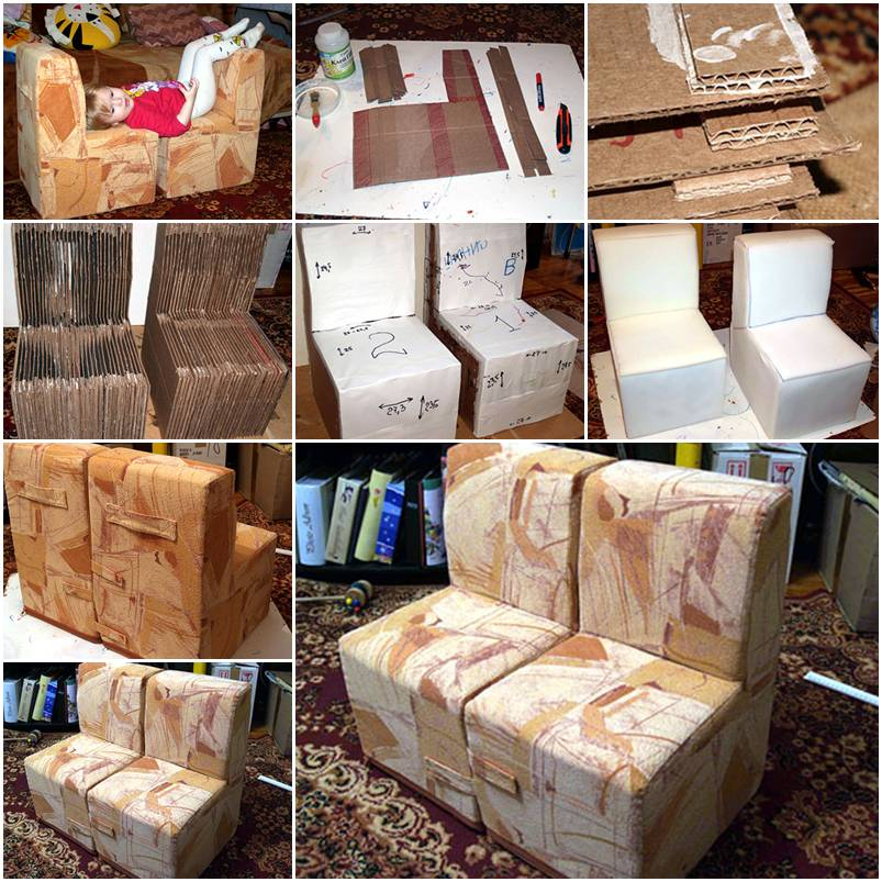 how to make cool cardboard children sofa chair step by