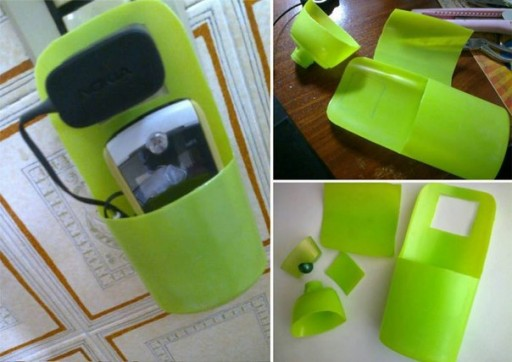 How to make cool smart cell phone charger holder with recycled shampoo bottle step by step DIY tutorial instructions