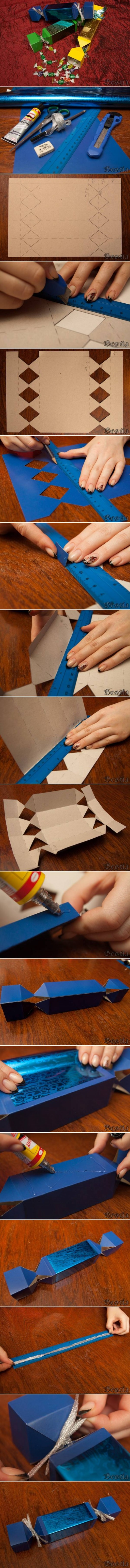 How to make cute Candy Style candy Boxes step by step DIY tutorial instructions