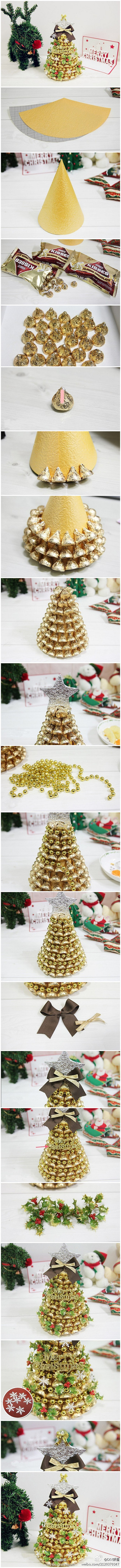 How to make cute Chocolate Christmas tree decorations step by step DIY tutorial instructions