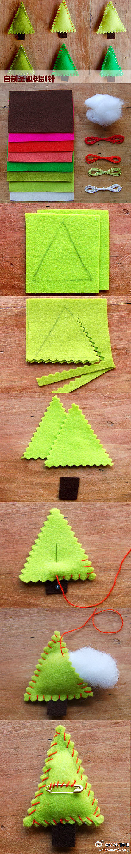 How to make cute Christmas tree clothpin step by step DIY tutorial instructions