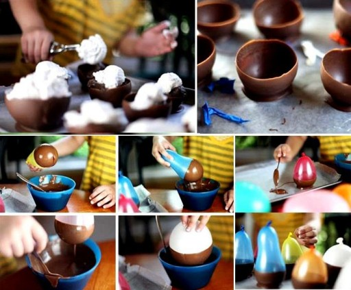 How to make cute chocolate bowls for ice cream step by step DIY tutorial instructions