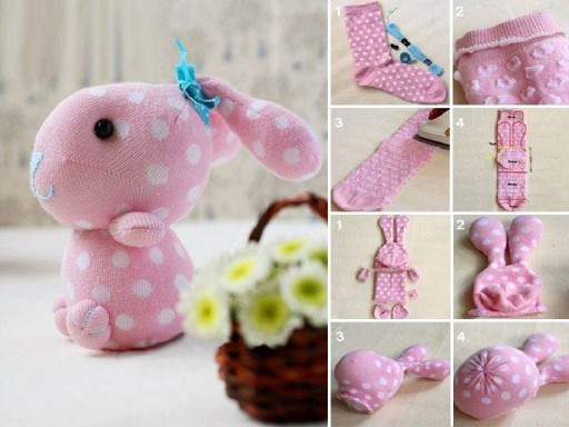 How to make cute sock bunny crafts step by step DIY tutorial instructions