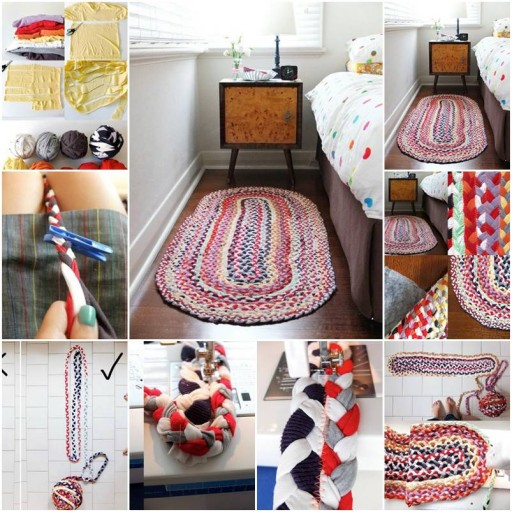How to make floor mats with used cloth step by step DIY tutorial instructions thumb
