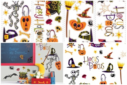 How to make happy halloween wall decor with peel and stick wall decals step by step DIY tutorial instructions