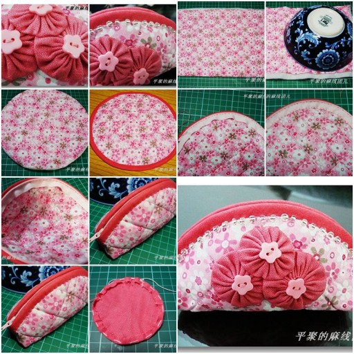 How to make homemade makeup Cosmetic Bag for your skin care products step by step DIY tutorial instructions thumb