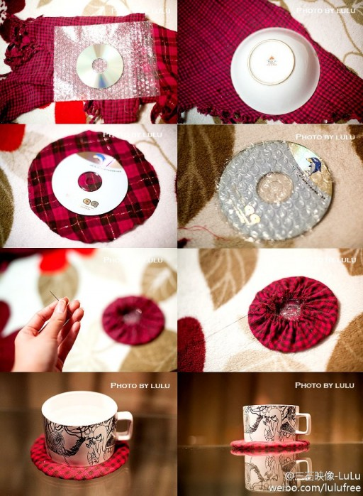 How to make lovely coaster with recycled CD step by step DIY tutorial instructions