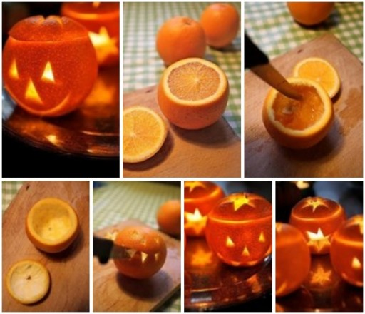 How to make orange lanterns for Halloween step by step DIY tutorial instructions