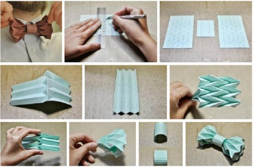 How to make origami bow ties step by step DIY tutorial instructions