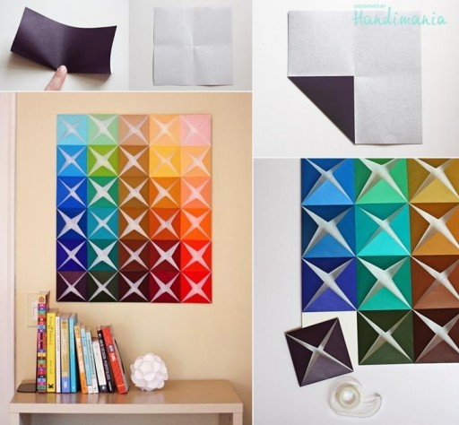 How to make origami paper craft wall decoration step by for Art and craft for wall decoration
