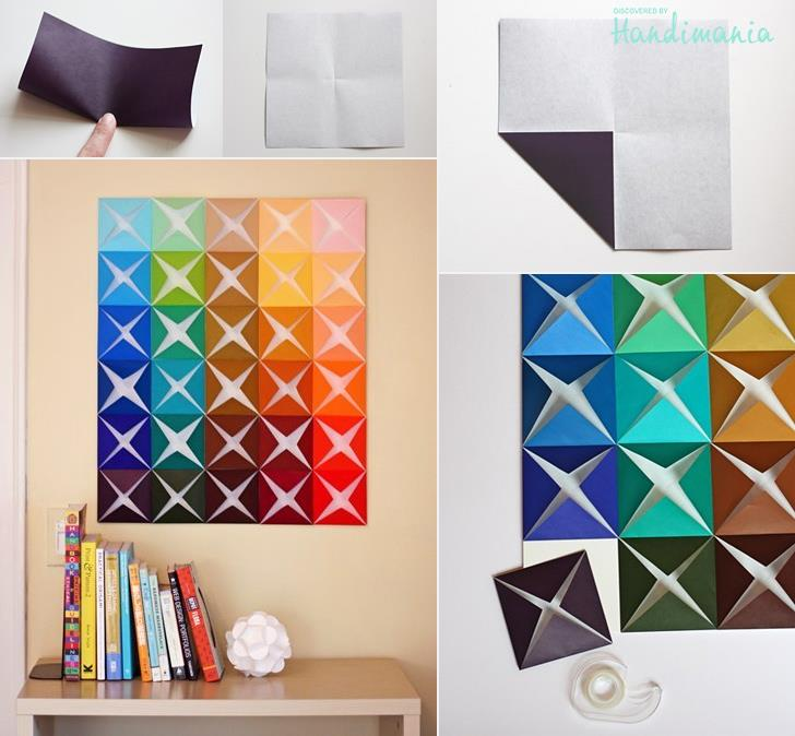 How to make origami paper craft wall decoration step by for Paper folding crafts step by step