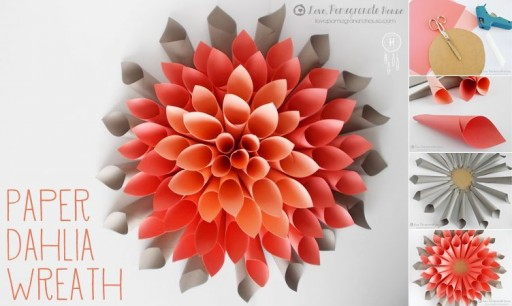 How to make paper beautiful craft dahlia wreath step by step DIY tutorial instructions