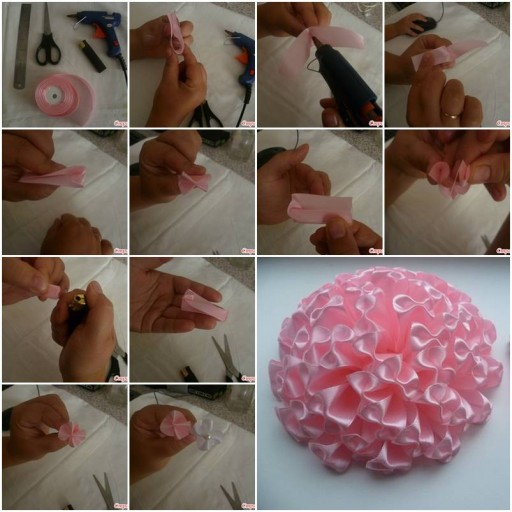How to make pretty pink ribbons and bows Flowers step by step DIY tutorial instructions thumb