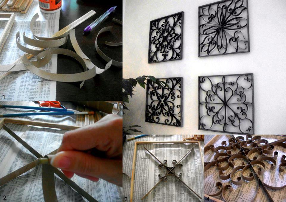 How To Make Pretty Wall Decor With Toilet Paper Roll Crafts Step By
