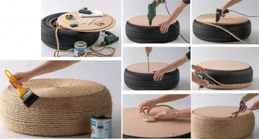 How to make stool with used automobile tires step by step DIY tutorial instructions