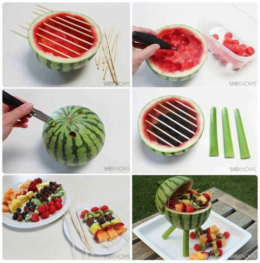 How to make super cute watermelon BBQ grill fruit skewers step by step DIY tutorial instructions