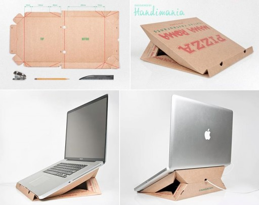 How to make unique laptop computer stand with pizza box step by step DIY tutorial instructions