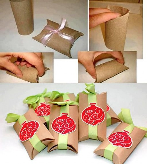 How to make your cool gift box with paper towel roll crafts step by step DIY tutorial instructions