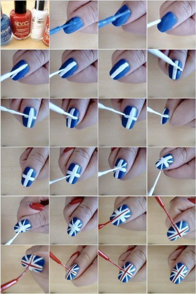 How to paint British flag nail art manicure step by step DIY tutorial instructions