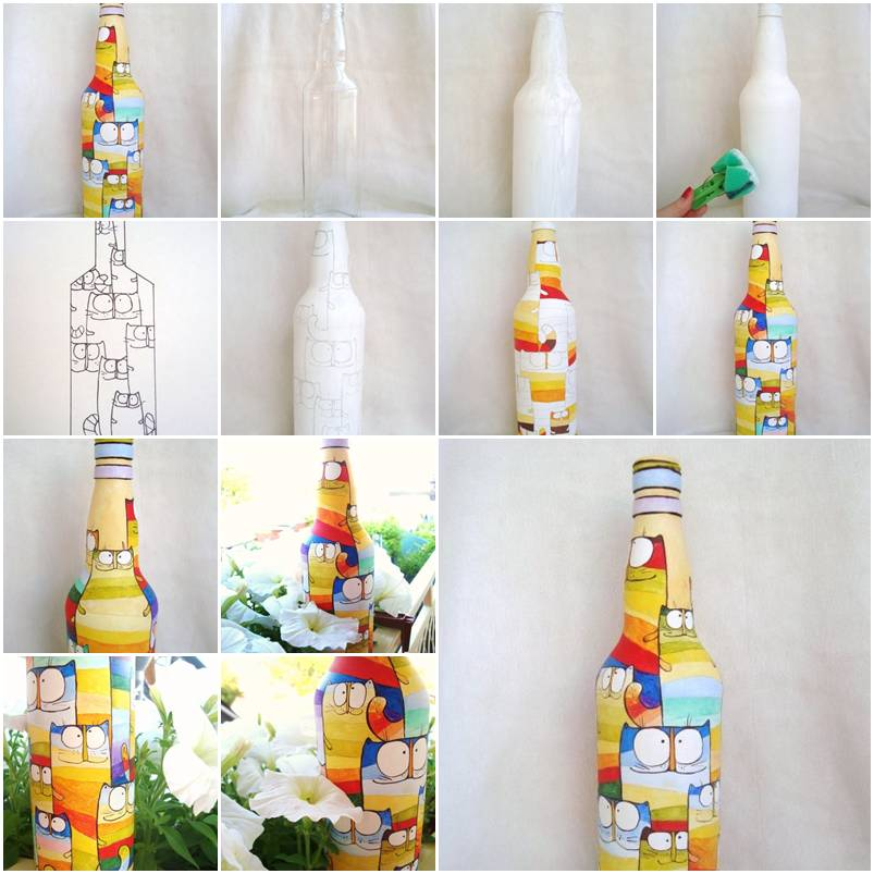How to paint pretty acrylic painting on bottles step by for How to paint bottles with acrylic