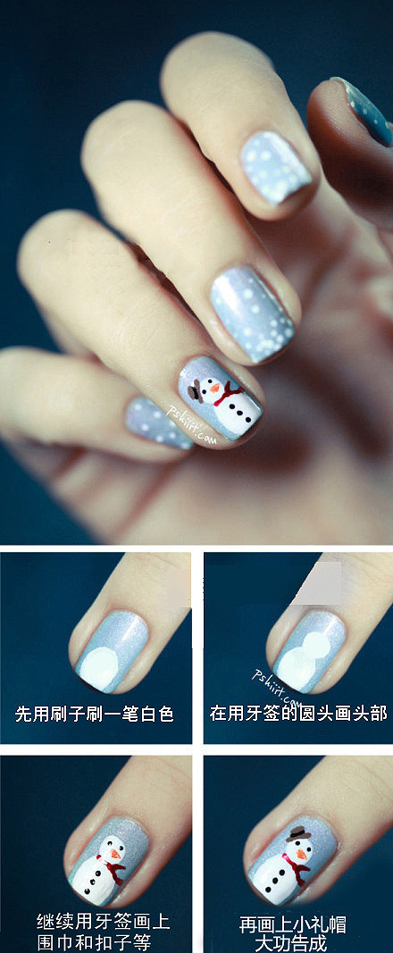How to paint snowman nail art manicure step by step DIY tutorial instructions