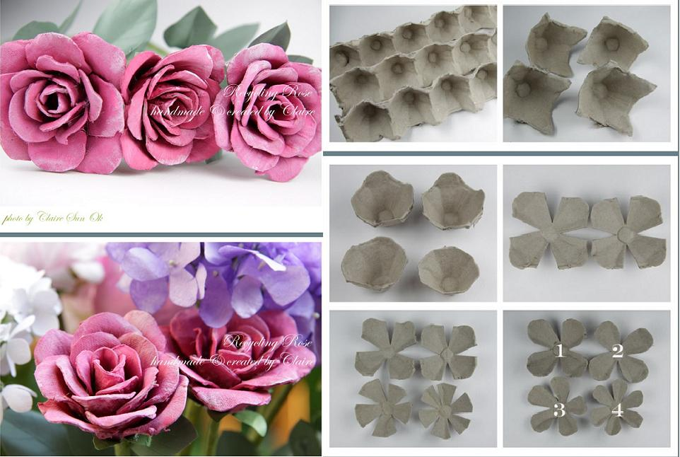 How to recycle egg packing boxes into beautiful rose for How to recycle egg cartons