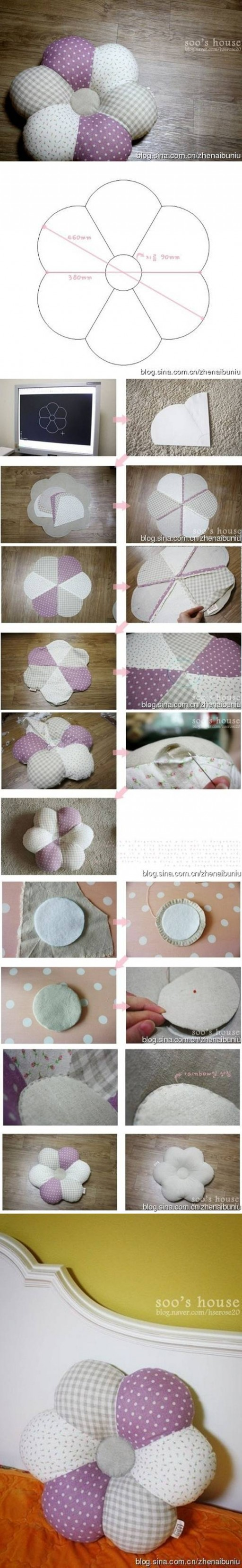 How to sew Flower down Pillows step by step DIY tutorial instructions