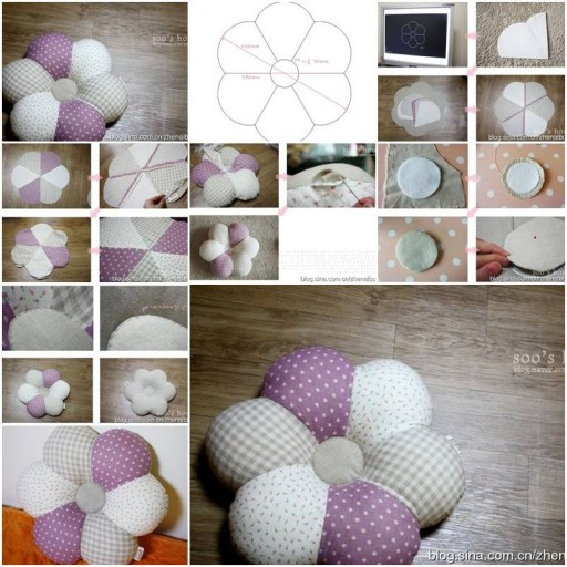How to sew Flower down Pillows step by step DIY tutorial