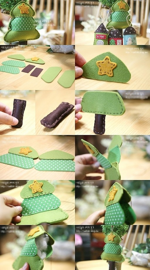 How to sew pretty little Christmas trees step by step DIY tutorial instructions