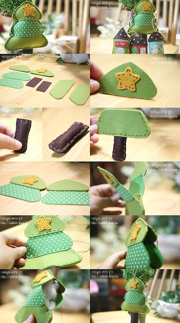 How to sew pretty little christmas trees step by step diy for Christmas diy room decor