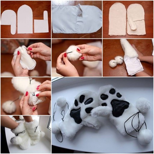 How to sew warm Winter Gloves step by step DIY tutorial instructions thumb