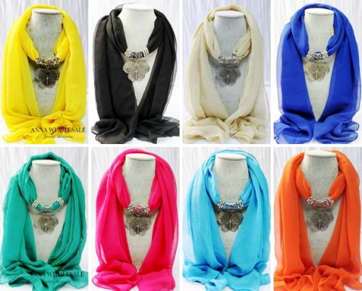 Which color of 1pcs Women's Butterfly Pendant Jewelry silk Scarf do you like
