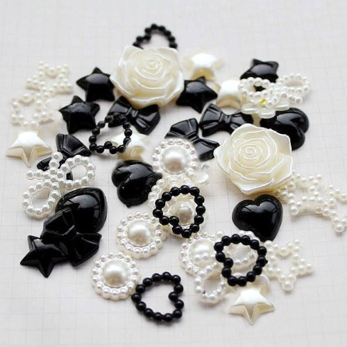 beautiful Mixed Cream and Black Mixed Flatback Pearl Cabochon for DIY crafts