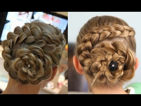 How to curl your hair Dutch Flower Braid Updos Cute Girls Hairstyles step by step DIY tutorial instructions