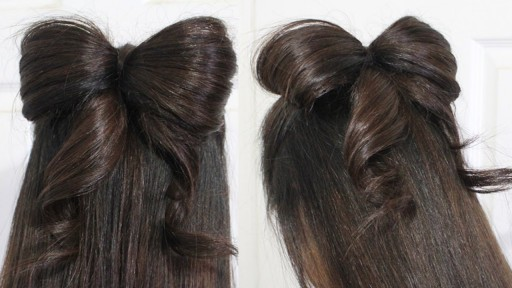 How to do half updo wedding hair bow for Medium Long Hair step by step DIY tutorial instructions