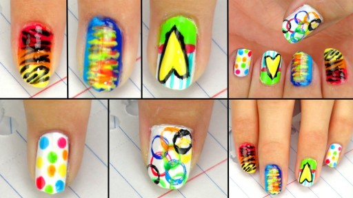 How to make 5 cute and simple nail art back to school designs step by step DIY tutorial instructions
