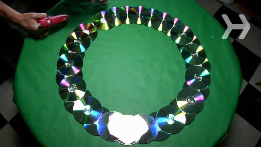 How to Make a Wreath Out of Old CDs step by step DIY tutorial instructions