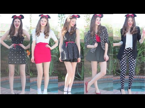 How to make last minute Halloween Costume Minnie Mouse, Hair, and Makeup step by step DIY tutorial instructions