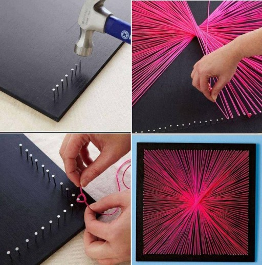 How to make pretty nail string interior wall art decor step by step diy tutorial instructions Home decor craft step by step