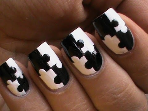 How to paint black and white puzzle manicures step by step DIY tutorial instructions