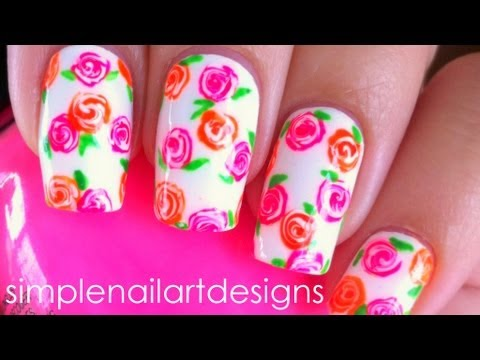 How to paint Neon Floral Nails step by step DIY tutorial instructions