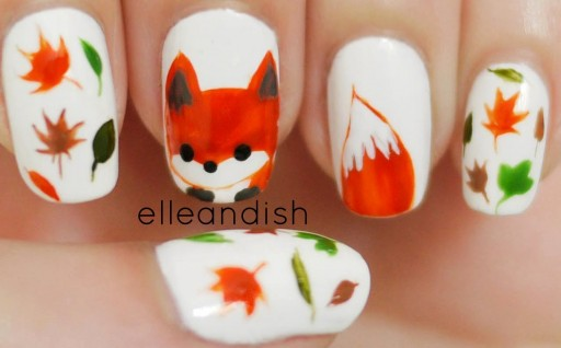 How to paint what does the fox say freehand fox nail art manicure for the fall autumn season step by step DIY tutorial instructions