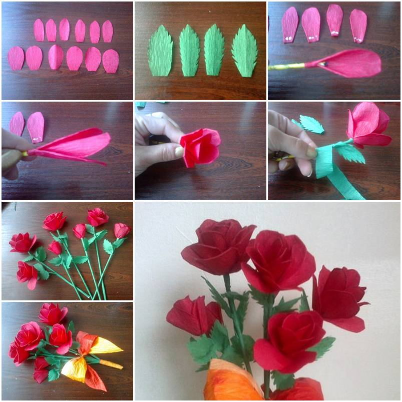 How to make crepe paper roses step by step diy tutorial for How to make easy crafts step by step