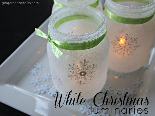 How To Make Glass Mason Jar Snowflake Luminares step by step DIY tutorial instructions