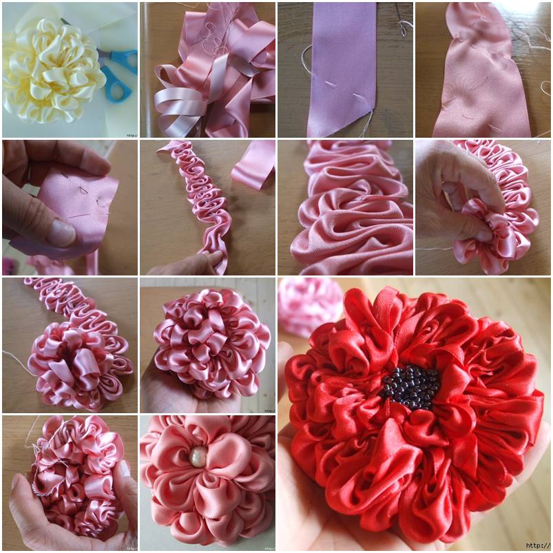 How To Make Cute Ribbon Dahlia Flowers Step By Step Diy
