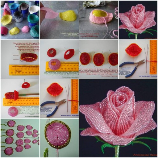 How To Make French Beaded Rose Step By DIY Tutorial Instructions